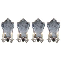 Four Italian Venetian Sconces 20th Century Murano Glass Mirrored Wall Lights