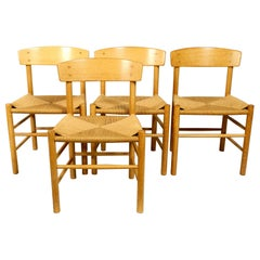Four J39 Mogensen Chairs in Oak and Cord Weaving by Børge Mogensen Fredericia
