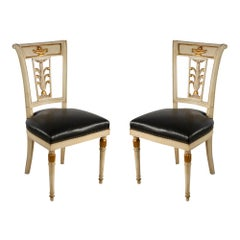 Four Jansen French Directoire Style Gilt Painted Wood and Leather Side Chairs
