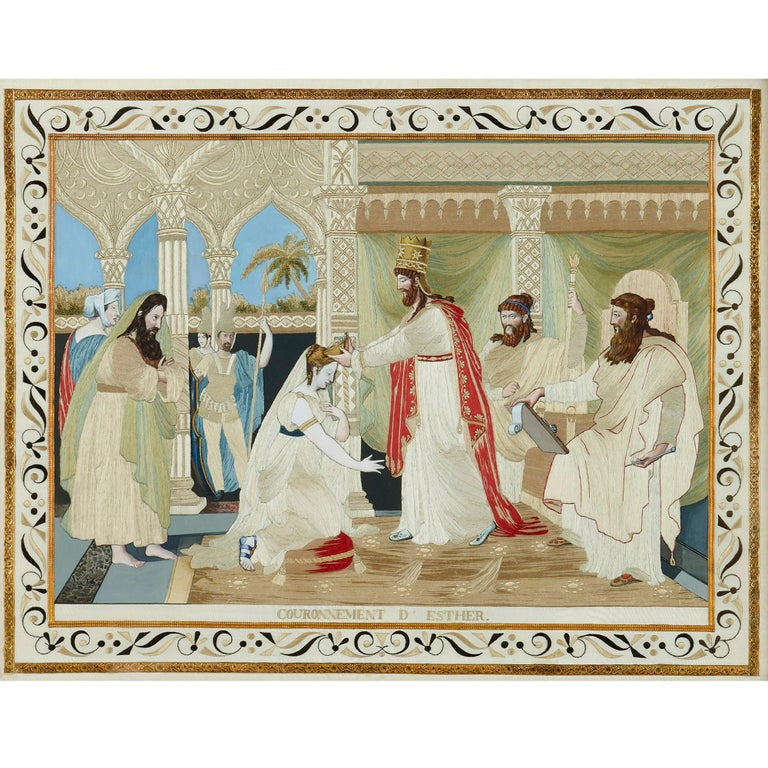 This set of pictures is made up of four individual works produced using a fine silk stitch upon painted moiré silk ground. Each picture is set within a giltwood frame of an ornamental Rococo style. The silk stitch of the images is embellished by the