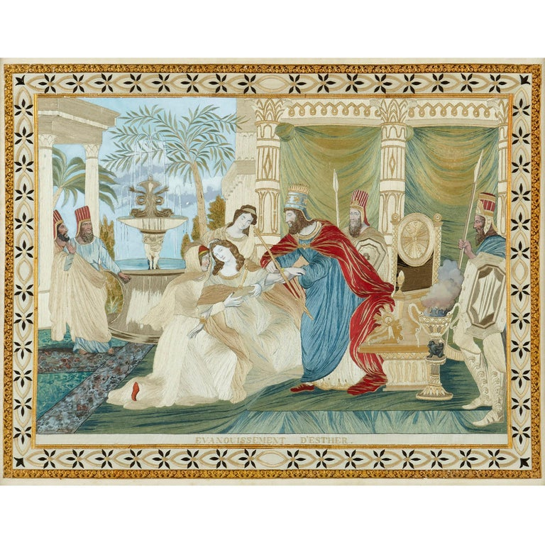 French Four Jewish Silk Embroidered Images from the Book of Esther For Sale