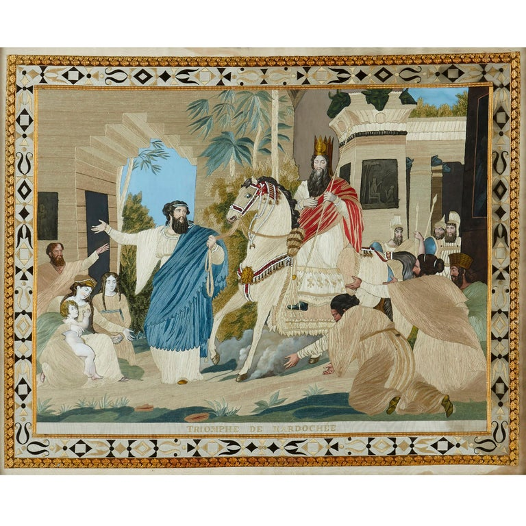 Gilt Four Jewish Silk Embroidered Images from the Book of Esther For Sale