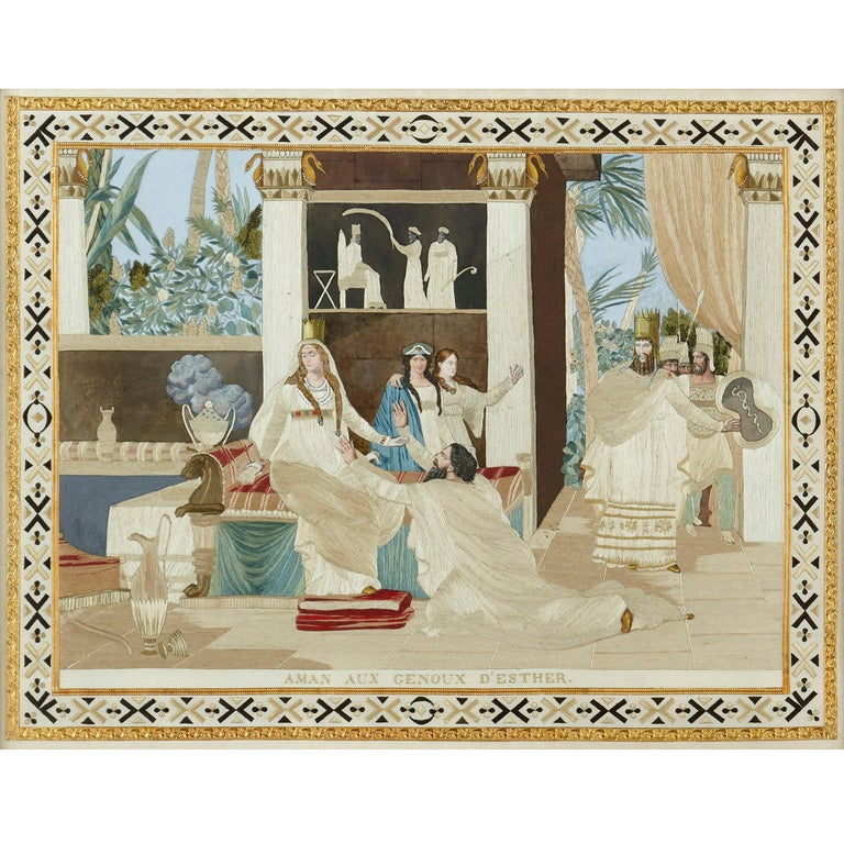 Four Jewish Silk Embroidered Images from the Book of Esther In Good Condition For Sale In London, GB