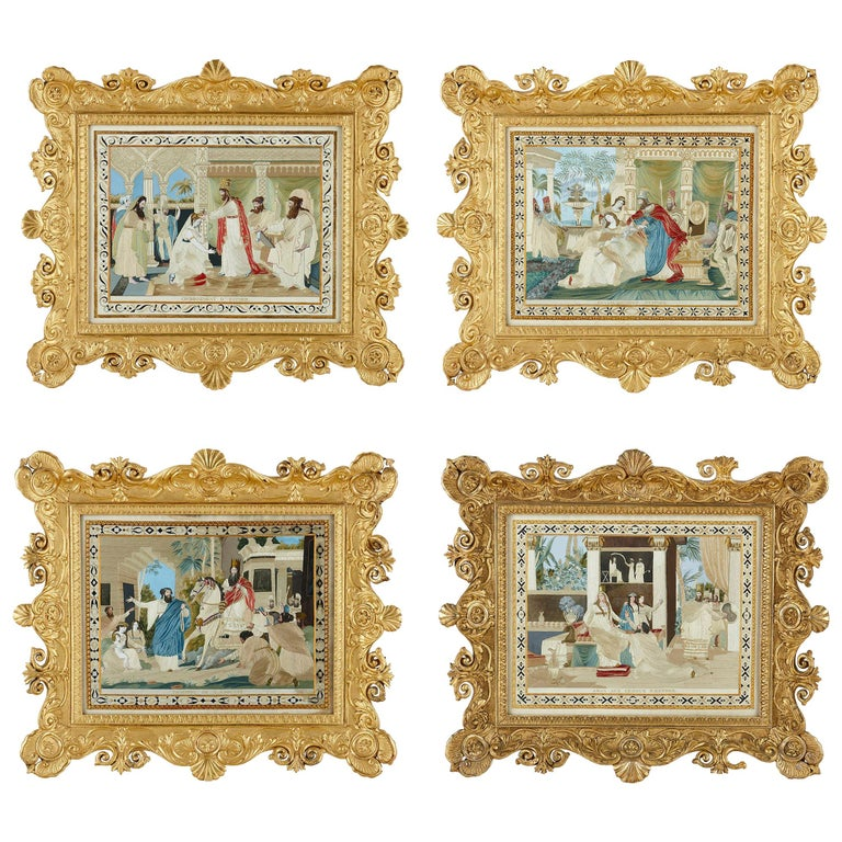 Four Jewish Silk Embroidered Images from the Book of Esther For Sale