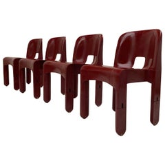 Four Joe Colombo 'Universale' Chairs, Very Rare First Edition 1967 Kartell Italy