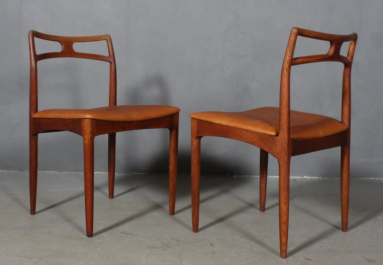 Scandinavian Modern Four Johannes Andersen Teak Dining Chairs, Model 96, Christian Linneberg, 1960s For Sale