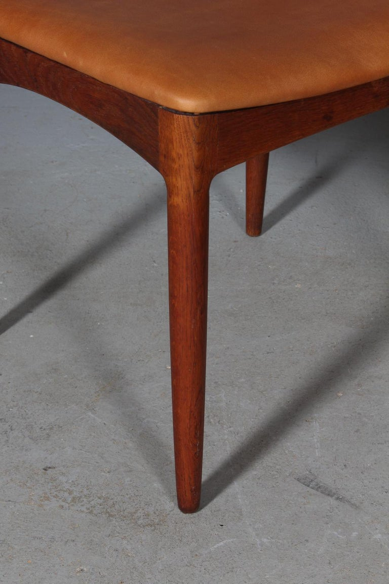 Leather Four Johannes Andersen Teak Dining Chairs, Model 96, Christian Linneberg, 1960s For Sale