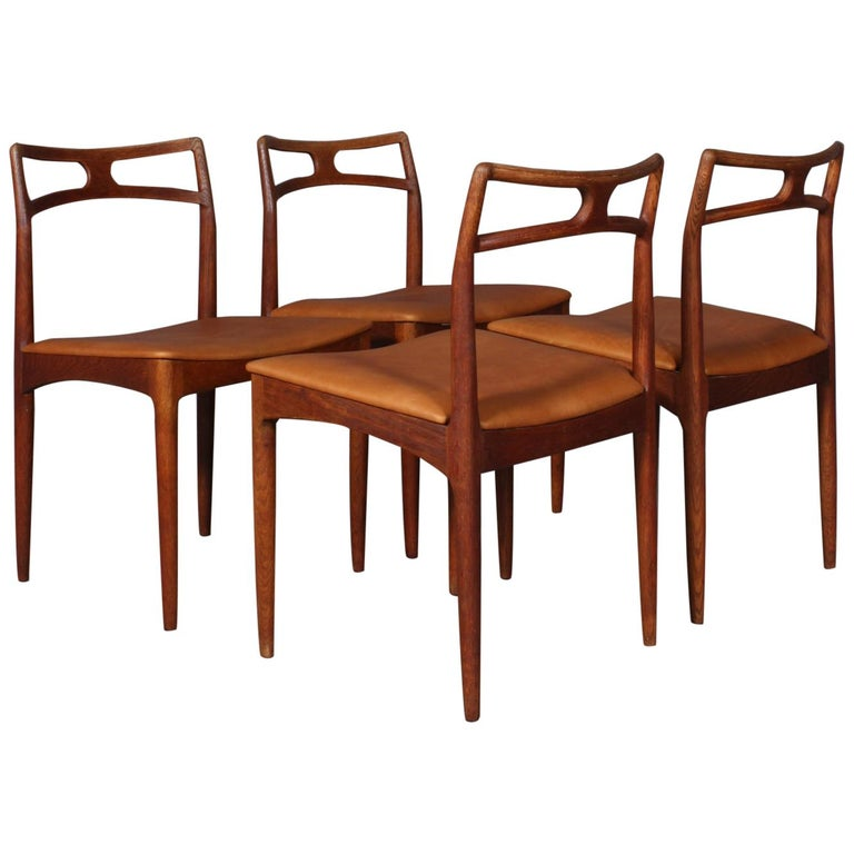 Four Johannes Andersen Teak Dining Chairs, Model 96, Christian Linneberg, 1960s For Sale