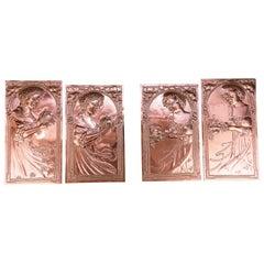 Four Jugendstil Copper Reliefs, circa 1907s