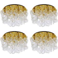 Four Kalmar Flush Mount Light 'Catena', Brass Murano Glass, 1970