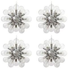 Four Kalmar Sputnik Pendant Lights Chandeliers 'Rs 27', Aluminum Glass, 1970