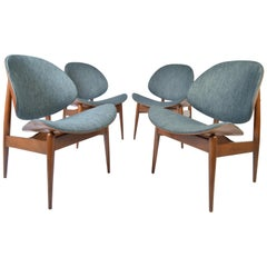 Four Kodawood Clam Shell Chairs by Seymour James Wiener