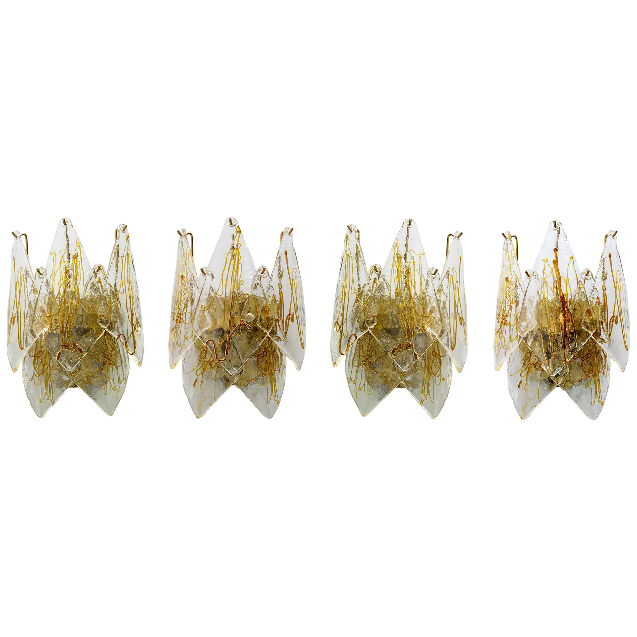 Four La Murrina Midcentury Italian Wall Lamps in Murano Glass and Brass, 1960s