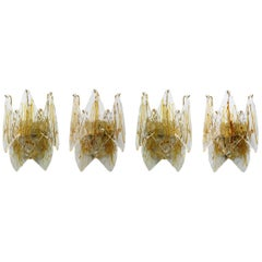 Four La Murrina Midcentury Italian Wall Lamps in Murano Glass and Brass, 1960s