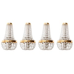 Four Large Bakalowits Wall Lights Sconces, Brass Nickel Crystal, Austria, 1950s