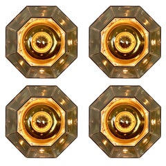 Four Large Geometric Smoked Glass & Brass Flush Mount Lights by Limburg, 1970s