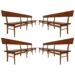 Vier Große Skandinavische Holzbänke, Mitte des 20. Jahrhunderts