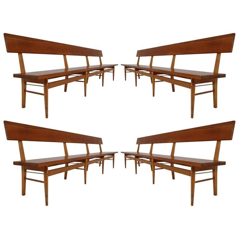 Astonishing Four Large Mid 20 Century Scandinavian Wooden Benches Lamtechconsult Wood Chair Design Ideas Lamtechconsultcom