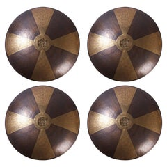 Four Large Moroccan Brass and Copper Shield Shaped Wall Sconces, Priced Per Pair