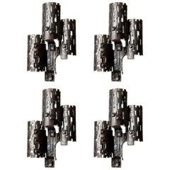 Four Large Unique Brutalist Sconces Wall Lights, Metal Wrought Iron, 1970