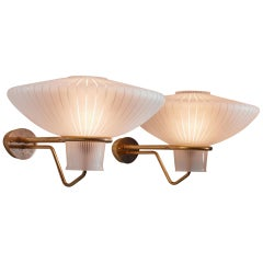 Four Large Wall Lamps, Erik Gunnar Asplund, Brass and Glass, 1950s
