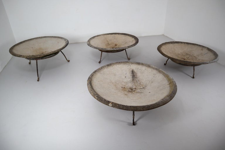 Mid-Century Modern Four Large Willy Guhl Garden Stone Planters on Stands, Switzerland, 1960s For Sale