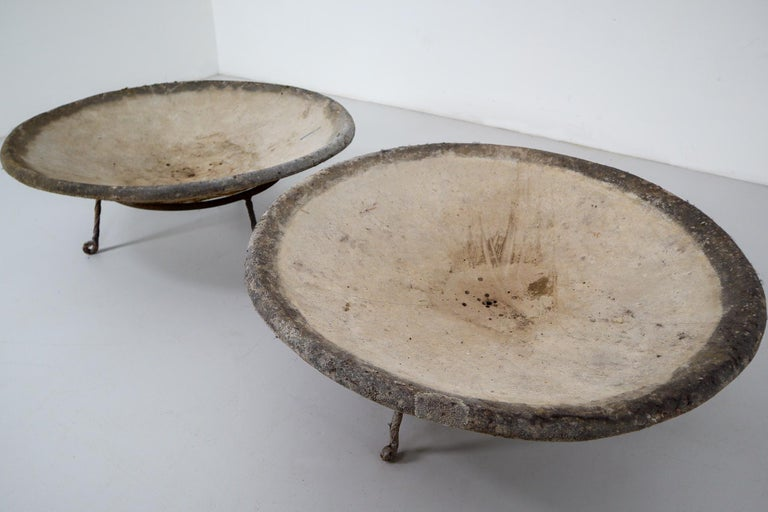 Swiss Four Large Willy Guhl Garden Stone Planters on Stands, Switzerland, 1960s For Sale