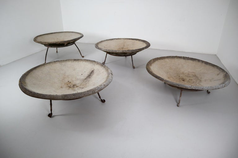 20th Century Four Large Willy Guhl Garden Stone Planters on Stands, Switzerland, 1960s For Sale