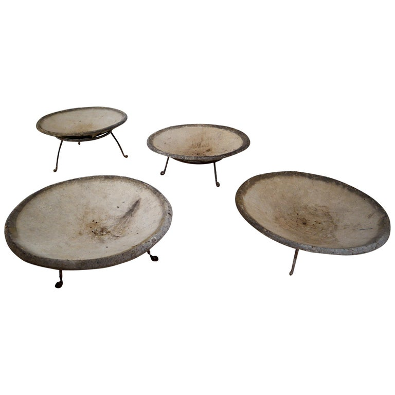 Four Large Willy Guhl Garden Stone Planters on Stands, Switzerland, 1960s For Sale
