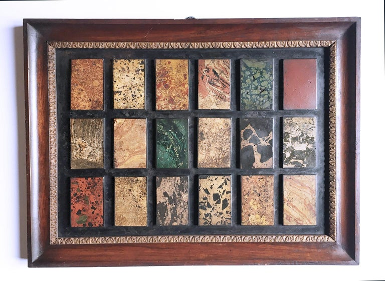 Assortment of 72 varieties of marble made in scagliola and applied to slate Northern Italy, late 19th century Each slab dimensions 30.5 cm (12 in) x 42.5 cm (16.73 in) Each frame dimensions 37.5 cm (14.76 in) x 50 cm (19.68 in) State of