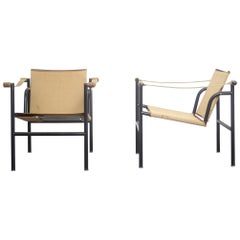 Mid Century Modern Four LC1 Chairs Le Corbusier, Perriand, Jeanneret for Cassina