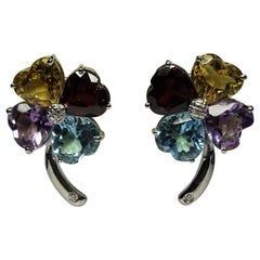Four-leaf Clover Citrine Amethyst Topaz White Diamond 18 Karat Gold Earrings