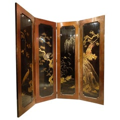 Four Leaf Screen in Lacquer Japan, circa 1900, Meiji Period