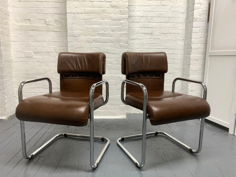 Mid-Century Modern Four Leather Chairs by Guido Faleschini for Mariani For Sale