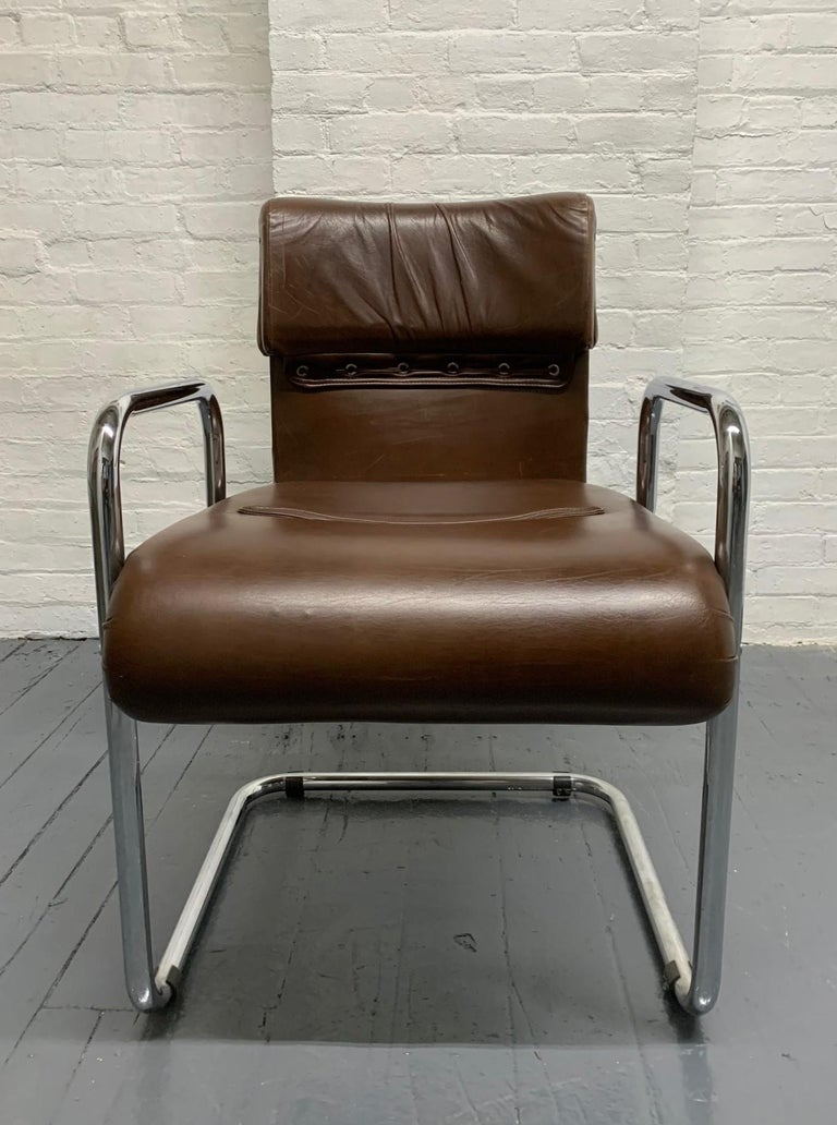 Late 20th Century Four Leather Chairs by Guido Faleschini for Mariani For Sale