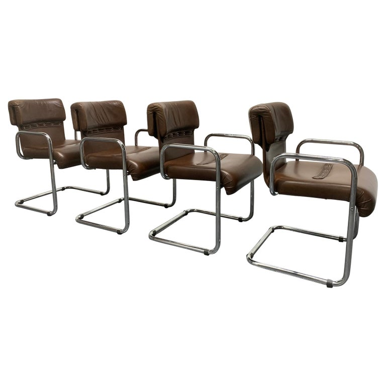 Four Leather Chairs by Guido Faleschini for Mariani For Sale