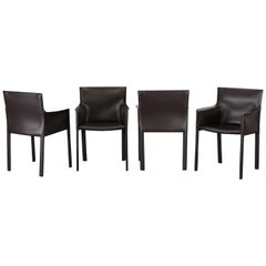 Four Leather Dining Chairs by Enrico Pellizzoni, 2000s