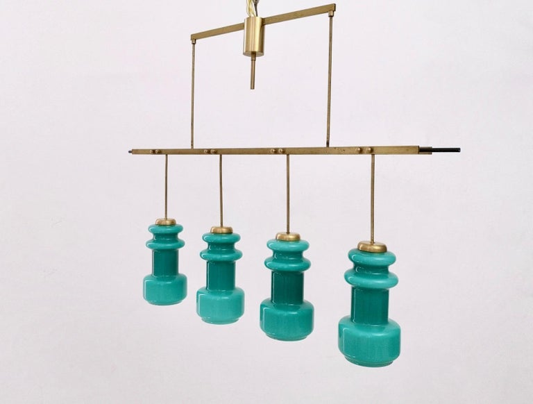 Mid-Century Modern Four-Light Chandelier by Stilnovo with Turquoise Glass Lampshades, Italy 1950s For Sale