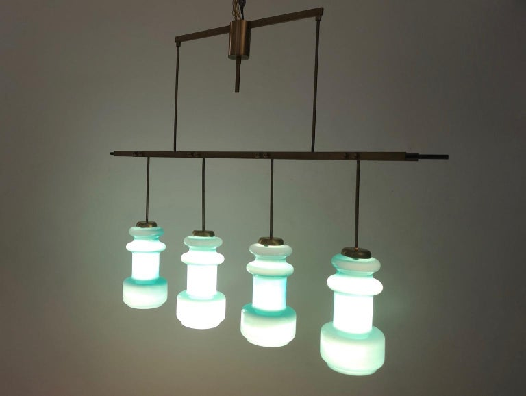 Italian Four-Light Chandelier by Stilnovo with Turquoise Glass Lampshades, Italy 1950s For Sale