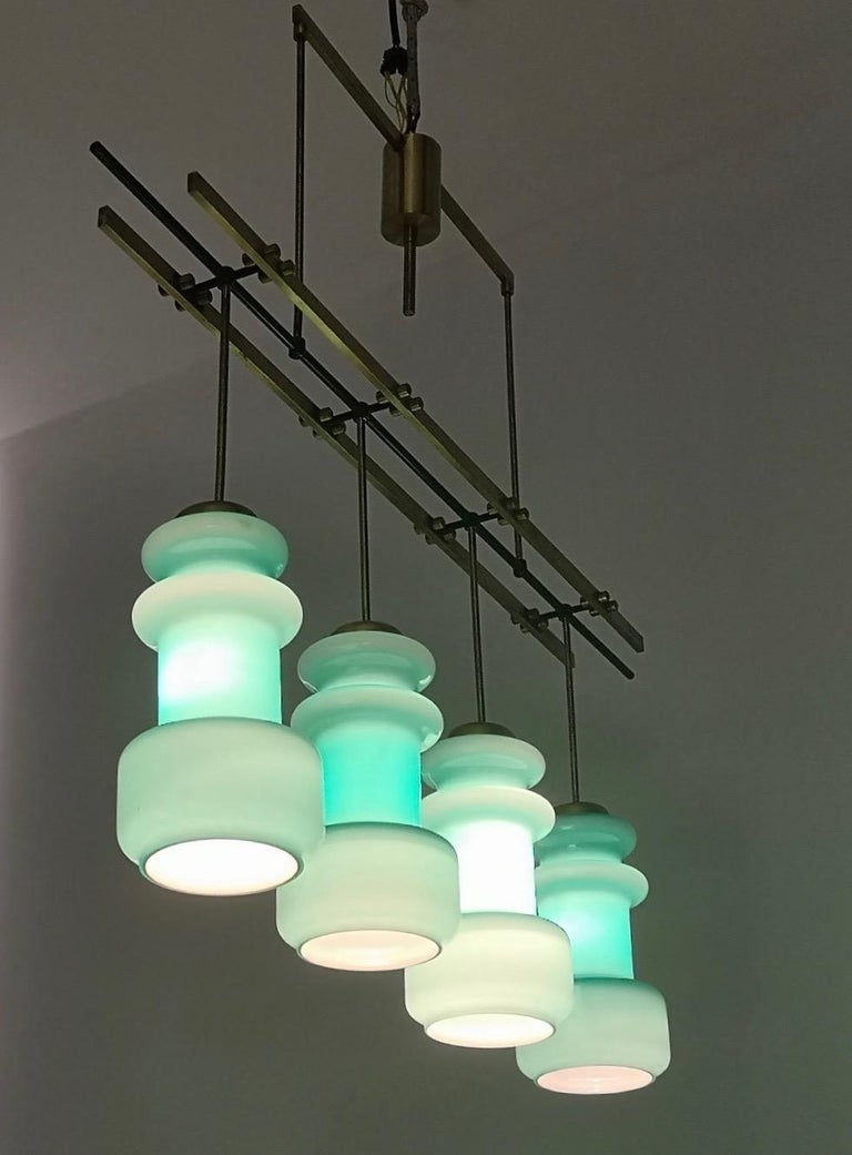 Four-Light Chandelier by Stilnovo with Turquoise Glass Lampshades, Italy 1950s In Excellent Condition For Sale In Bresso, Lombardy