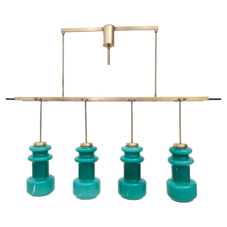 Four-Light Chandelier by Stilnovo with Turquoise Glass Lampshades, Italy 1950s For Sale