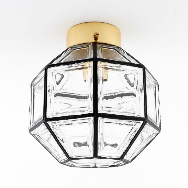 Mid-Century Modern Four Limburg Flushmount Light Fixtures or Sconces, Brass Iron Glass, 1970 For Sale