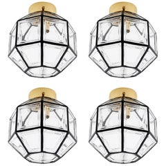 Four Limburg Flushmount Light Fixtures or Sconces, Brass Iron Glass, 1970
