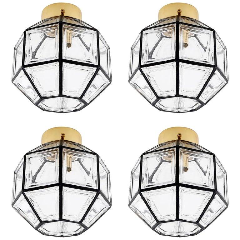 Four Limburg Flushmount Light Fixtures or Sconces, Brass Iron Glass, 1970 For Sale