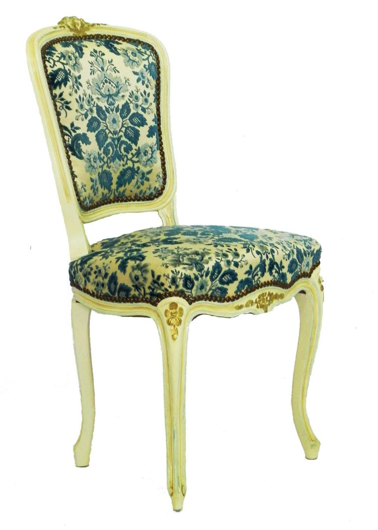 Louis XV Four Louis Style Dining Chairs French Upholstered Vintage, Early 20th Century For Sale
