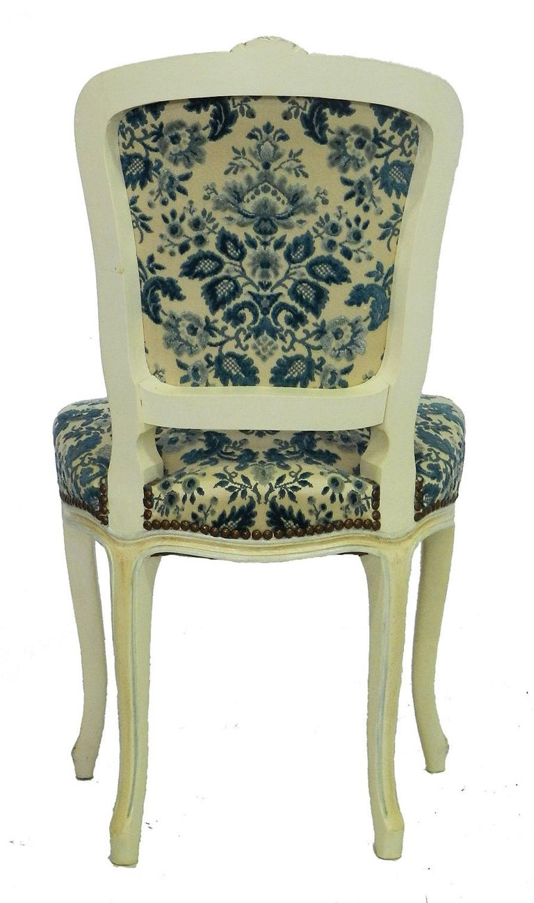 Four Louis Style Dining Chairs French Upholstered Vintage, Early 20th Century In Good Condition For Sale In , South West France