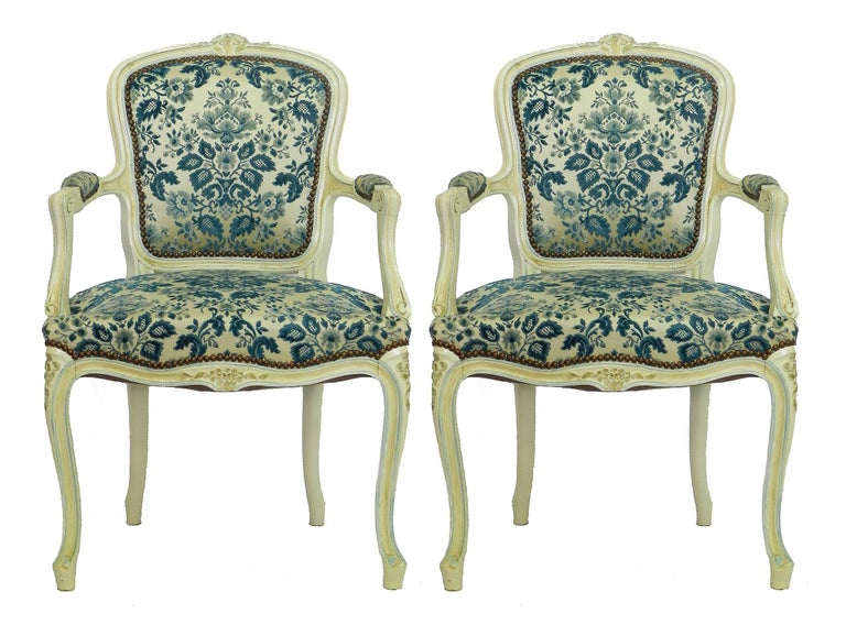 Four Louis Style Dining Chairs French Upholstered Vintage, Early 20th Century For Sale 1