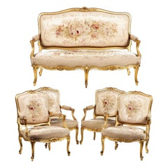 Four Louis XV Armchairs and Sofa 19th Century Aubusson Tapestry