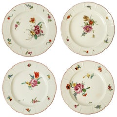 Four Ludwigsburg Hand Painted Floral Porcelain Plates, Late 18th Century