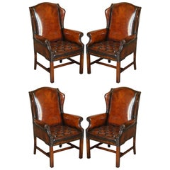 Four Luxury Restored Hand Dyed Brown Leather Chesterfield Wingback Armchairs